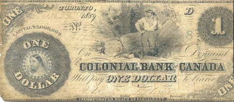 19th century Canadian banknote